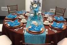 Tablescapes and Napkin Folds / In this board we display table designs with most of the linens we have in stock. We can also special order runners or specialty linens.