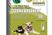 Stone Breaker Starter Kits for Dogs and Cats / Natural plant adaptogens help identify, break up and remove all types of stones & may limit stone formation by blocking cellular irregularity related to the kidneys and the bladder   May help dissolve liver, kidney, bladder and gall stones, gravel, crystals, grains and calculi, Including.calcium oxalate, struvite, uric acid, cysteine, calcium phosphate & silica stones  May help reduce bladder and kidney infections by reducing cortisol and calcium; acidifying urine and normalizing pH levels