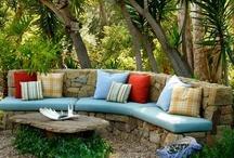 Garden: stone benches
