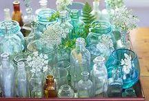 Glass bottles,mason jars & bouquets.
