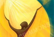 """Prayer Art by Sr Mary Stephen CRSS - Banners, Posters and Media / """"In my artwork I try to make visible God's invisible energy, that life which flows through all creation and is within everything. I aim to find new ways of expressing God's relationship with us, hoping to reveal something of the deeper meaning within all that we do and believe. Our primary relationship with God is our prayer. These images express some aspects of this."""" Sr Mary Stephen CRSS"""