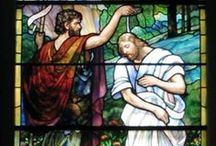 """The Baptism of Christ / The Baptism of the Lord is celebrated on Sunday 12th January in 2014. As soon as Jesus was baptized, he went up out of the water. At that moment heaven was opened, and he saw the Spirit of God descending like a dove and alighting on him. And a voice from heaven said, """"This is my Son, whom I love; with him I am well pleased."""" Matthew 3:16-17"""