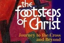 Lent / Easter - The Footsteps of Christ: Posters and Banners for The Stations of the Cross / The Footsteps of Christ by The Benedictine Sisters of Turvey Abbey depicts the Stations of the Cross in 16 illustrations - available as individual posters, banners, Foamex and Dibond boards, and in sets. Book and DVDs also available. Prices start at £2.25 + VAT = £2.70 for an A4 laminated poster... artwork also included in Spirit of Light Vol 2 CD-ROM