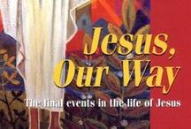 Lent / Easter - Jesus, Our Way : posters, PUR boards and Banners / Jesus, Our Way by The Benedictine Sisters of Turvey Abbey - 12 illustrations depicting the last days of the life of Jesus. Book, posters, PUR boards and banners, available individually or in sets. CD-ROM Spirit of Light Vol. 2 'Lent and Easter Story' includes images from Jesus, Our Way, and The Footsteps of Christ. Prices start at £2.25 + VAT = £2.70 for an A4 laminated poster.