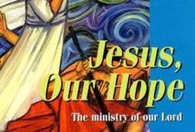 Jesus Our Hope : Posters, Boards, Banners, Book & DVD / Jesus Our Hope by The Benedictine Sisters of Turvey Abbey - significant events in Jesus' life illustrated in twelve paintings, reproduced as posters, PUR boards, banners, in  a book with additional readings and meditations, and on DVD for projection (great RE resource for schools and bible groups). Prices start at £2.25 + VAT = £2.75 for a single A4 poster, book free with each poster set.