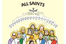 November Saints - Posters, Display-Boards, Lectern Frontals and Banners / Saints Days celebrated in November - A3 laminated posters, 3000x800mm roller-banners - display-boards, banners, and lectern frontals in various sizes. Contact us banners@mccrimmons.com or ring during UK office hours Monday to Friday to learn how you can customise our display-boards, lectern frontals and banners for your school or church. We also print on PVC for hardwearing, waterproof outdoor banners. Click the image to our website to learn more about each particular saint!