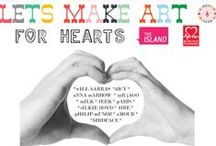 <<Lets Make Art for Hearts>> / Children and their families were invited to contribute colour, pattern and design to giant black-and-white posters, generously drawn by 12 prominent artists in support of the British Heart Foundation.