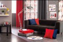 Ambiance LOFT à la maison ! / Recréez chez vous l'ambiance d'un loft new-yorkais ou londonien. Quelques coussins colorés, une paire de voilages, un tapis tout rond, et le tour est joué !