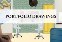 Portfolio Drawings - Karolina Barnes Studio / Drawing designs and presentations to clients.