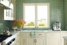 KITCHENS w/ MH / Client kitchens we've found online and beyond of using Mosaic House tiles.  Our mosaic tiles make for great backsplashes and our cement / encaustic tiles really hold up underfoot.