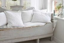 WHITE  rooms / linen, ironstone, slipcovers, chippy white wood...easy living spaces