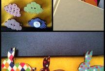 Accessori Il Malamizio / Segnalibri e spille in legno, stoffa e bottoni, realizzati a mano da Emma P.
