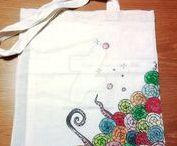 Borse Il Malamizio / Borse 100% cotone dipinte a mano con colori per tessuto, lavabili in lavatrice. Realizzate da Rossella V.