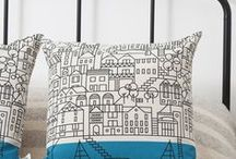 printed PILLOWS / PRINTS & DESIGN at home: a compilation of illustrated pillows full of art. Original gift ideas!