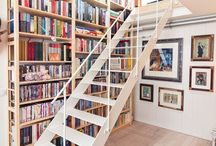 stairways and bookshelves
