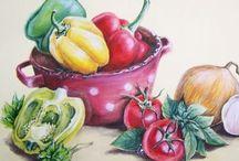 Декор-объект рисованная еда ( фрукты, овощи, выпечка, посуда, напитки)