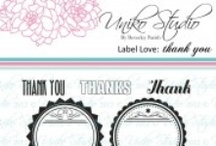 Uniko Label Love: Thank you / Inspiration using Uniko's Label Love Thank you clear stamp set