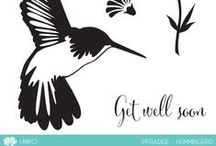 Uniko Paradise - Hummingbird / A board featuring the Uniko Paradise Hummingbird clear stamp set