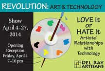 Revolution: Art & Technology. April 4-27, 2014 / All-Member Show April 4-27, 2014. Curators Ann Krug & Connie Saunders. Artists exploring our relationship with technology. Computer created art, digitally manipulated art, art made of electronic parts