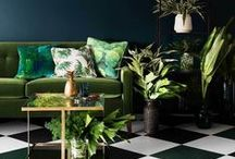 Botanical Interiors / Lush green Botanical continues to be a hot trend. Echoing the diversity of nature, this board is about all things with a deep, rich palette that amplifies colour and pattern. www.luxaflex.co.uk