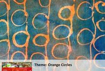 Orange Circles / Inspiration for and finished fabrics for Lynn Krawczyk's theme for The Printed Fabric Bee.
