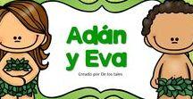 Adán y Eva / En este tablero encontrarás recursos gratuitos e ideas para enseñar sobre Adán y Eva con tus niños en la escuela dominical, célula de niños, hora feliz o en tus devocionales en casa.