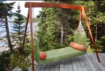 The Camden / One of our most versatile swings. The Camden swings like a hammock in all directions, is open to warm summer breezes and allows two people to comfortably stretch out or get cozy.  Each is custom made and we have several Sunbrella colors for you to choose from.
