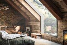 Interior / ♡wood ♡huge windows ♡white