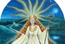 Brighid ~ Goddess of Healing, Poetry and Smithcraft / Brighid is also known as Brigid, Brigit, Bridie, Brighde, Breeje, Brigantia. Brighid is an Irish Goddess, daughter of the Goddess Dana, the Great Mother and the God Dagda, the Great Father, thus She is a descendant of the Tuatha dé Danann. We honour Her Celtic heritage and the ancient Celtic Traditions. Brighid is a Triple Goddess of healing, poetry and smithcraft. She is also a Fire and Sun Goddess.