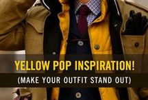 Yellow Pop! (Style for Men) / Wearing a splash of yellow with the right combo can really make your outfit pop. Try wearing yellow socks or a yellow tie. Or accessorize with a yellow hanky or lapel pin. Enjoy our board of men's yellow pop fashion.