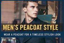 Men's Peacoat Style / Peacoats are navy colored wool coats originally worn by Navy sailors. Peacoats are characteristic for broad lapels, double-breasted fronts, and large buttons. Now available in a variety of colors and styles, the peacoat still remains a stylish, practical, and timeless winter coat for men. A peacoat looks great paired with cold weather styles from casual to formal and every fashion in between. For more men's fashion inspiration, check out the Peacoat Collection at FamousOutfits.com