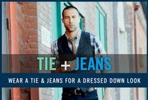 Tie and Jeans Fashion Style / Ties are considered professional clothing, but consider pairing a tie with jeans when going for a more casual style. Ties with texture, like a knit or a cotton tie, are often best for this. Complete this look with a classic cardigan or even a blazer. Wearing a tie with denim is a great look for Casual Friday at the office or an evening date. For more men's fashion inspiration, check out the Tie and Jeans Collection at FamousOutfits.com