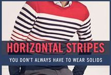 Men's Stripes Style / Some men shy away from wearing horizontal stripes to avoid looking fat, but adding striped clothes into your wardrobe will instantly give you a bold look. Start by pairing up a classic navy and white striped sweater with a pair of chinos. Feeling a little more bold? Match up red or orange pants instead. You can also wear a horizontal striped shirt for a more casual style. For more men's fashion inspiration, check out the Horizontal Stripes Collection at FamousOutfits.com