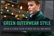 Men's Green Outerwear Style / A great color for men to wear this fall is green. Rock a green jacket or sweater during the fall season.