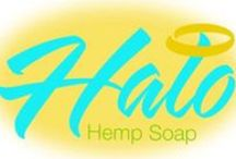Halo Hemp Soap /  Halo Hemp Soaps are infused with Hemp-seed Oil, Coconut oil, Grape seed oil,and Almond Oil Shea Butter, Vitamin E, and Glycerin to quench your skin.  This product also provides many healing properties for a wide range of skin issues. Holds moisture in skin to protect against our daily exposure to our elements. Provides a natural sunscreen. Our Halo Hemp Soaps are a handmade product. Each one is unique in color and pattern,