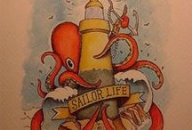 Made by the sea / Draw, watercolor, sea monster, tattoo, surfboards, skateboards, longboards, paint, painting, drawing, handmade