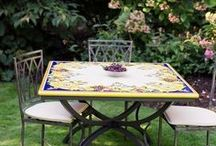 Italian Painted Tables / Classic Artistico tables are created using the 'majolica' technique handed down from one Italian master craftsman to another. Volcanic stone is dense, strong and stunning for outdoor or indoor dinning.