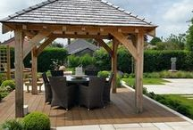 Garden Design - Alsager - Cheshire / Design for a suburban garden #gardendesign #gardendesigncheshire #landscaping #paving #patio #gazebo #oakgazebo #decking #compositedecking #waterfeature #gardensculpture #outdoorliving #outdoordining #plantingdesign #plantcombinations #sawnsandstone