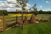 Garden Design - Rural Family Garden - Cheshire / #gardendesign #gardendesigncheshire #landscaping #familygarden #countrygarden #paving #patio #gazebo #pergola #oakgazebo #willowweaving #waterfeature #plantingdesign