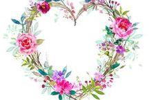 Watercolor, circles, flowers