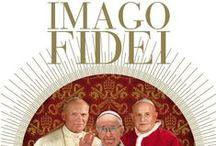 """Imago fidei. Tres papas sobre las huellas de Pedro: Juan Pablo II, Juan XXIII, Francisco / """"Tú eres Pedro y sobre esta piedra yo edificaré mi Iglesia, y te daré las llaves del Reino de los cielos""""."""