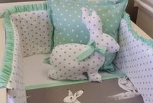 Bashful Bunny / Mint and Grey, with accents of our adorable Bashful Bunny creates this beautiful nursery theme for a lucky little girl