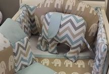 Ele in Taupe / Another adorable Ele theme nursery bedding set. This time featuring our little Ele in Taupe, paired with a lovely coordinating Chevron and Spot design.