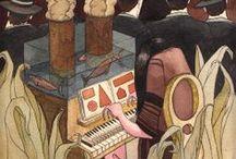 Illustration// Personal Work// Treballs / Un tauler amb treballs i il·lustracions pròpies//