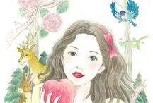 Satoko Miyakawa Analog illustration / 水彩、アクリル、カラーインク、パステル、色鉛筆などを使用した作品