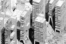 Architectural Illustrations / Architecture as a machine for production of everything.