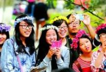 Qingming Festival / A celebration of the emerging springtime and honoring one's ancestors. Families will go to their relatives' gravesites to clean and leave offerings, and as always, there is food and conversation!