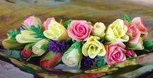 floral cold porcelain / Handmade cold porcelain flowers to decoration wedding, celebrations and candle decoration