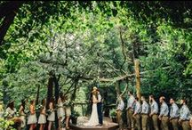 Real Forest  Weddings at Arrowhead Pine Rose Cabins / Indulge your inspiration for forest outdoor weddings.  We have a Koi pond and year round streams, rustic cake gazebo, and lodging for your guests.  Call today for a tour of our rustic, woodsy wedding venue.