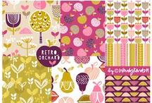 ::: Retro Orchard ::: / Wendy Kendalls's 2nd collection for Dashwood, Retro Orchard, combines bold graph fruit motifs with fun pattern fills. The contemporary palette makes the collection perfect for use in both the modern kitchen and junior apparel.